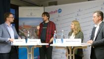 Alexander Rieper (FNF), Hartmut Goebel (digitalcourage), Nadja Hirsch MdEP, Stephan Thomae MdB