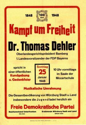 Plakat des FDP-Bezirksverbandes Unterfranken, 1948