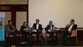 Nikolay Staykov, Sabine Leutheusser-Schnarrenberger, Christian Mihr, Michael Krennerich und Stephan Sohr